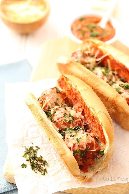 Chicken Parmesan Meatball Subs with a quick homemade tomato sauce