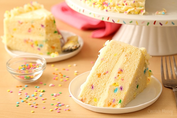 Funfetti Cake made from scratch with Whipped Vanilla Buttercream Frosting