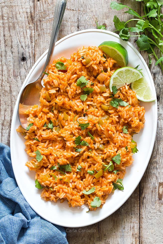 White Platter with Spanish Rice and spoon