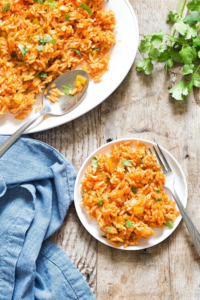 White plate of Spanish rice