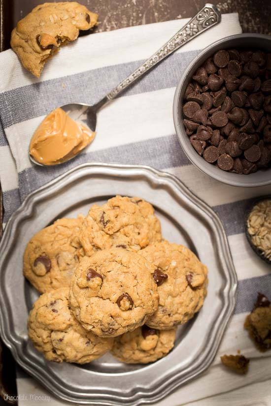 Peanut Butter Oatmeal Chocolate Chip Cookies that are soft and a little nutty