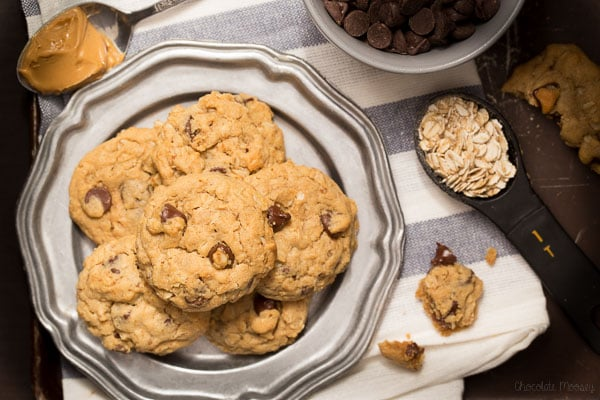 Soft Peanut Butter Chocolate Chip Oatmeal Cookies