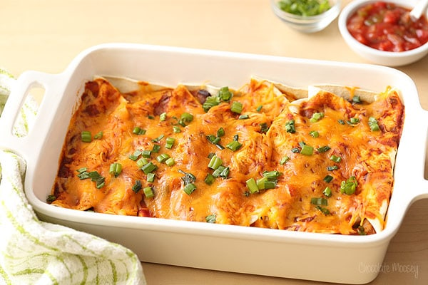 Salsa Chicken Enchiladas with a homemade enchilada sauce