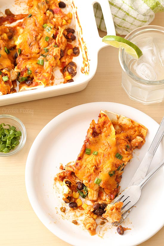 Salsa Chicken Enchiladas stuffed with black beans and corn