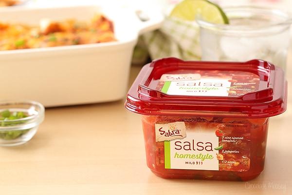 Salsa Chicken Enchiladas made with Sabra Salsa
