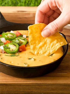 Dipping into Small Batch Queso (Nacho Cheese Dip)