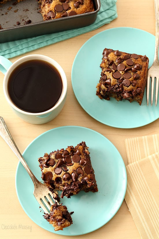 Banana Chocolate Chip Snack Cake that is vegan, dairy free, and egg free