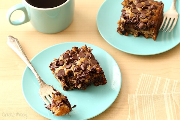 ... chips? This irresistible egg free Banana Chocolate Chip Snack Cake