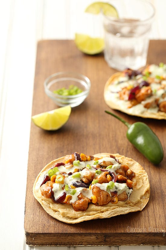 Barbecue Chicken and Corn Tostadas with hummus
