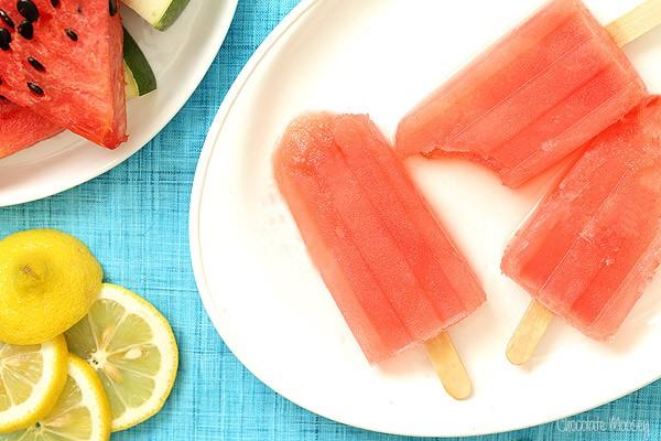 Watermelon Margarita Popsicles on white plate
