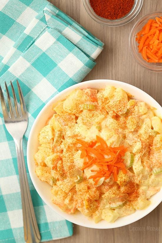 Amish Potato Salad made with mustard, vinegar, and sugar