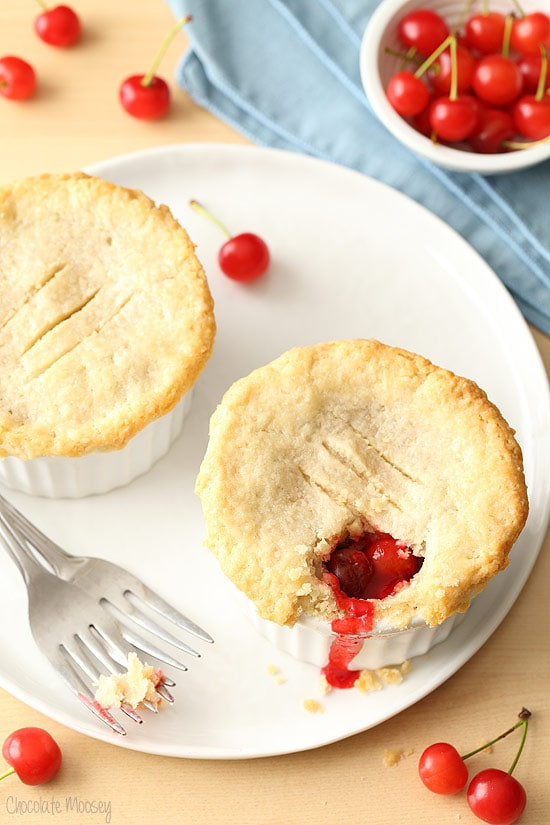 Cherry Pie For Two with homemade cherry pie filling and homemade pie dough