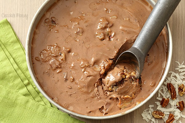 German Chocolate Cake Ice Cream with coconut pecan frosting
