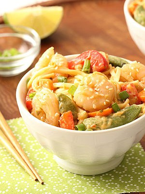 Sesame Shrimp Peanut Noodles for a cold lunch or dinner