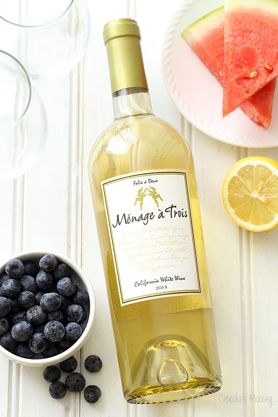 White wine for Watermelon Blueberry Sangria