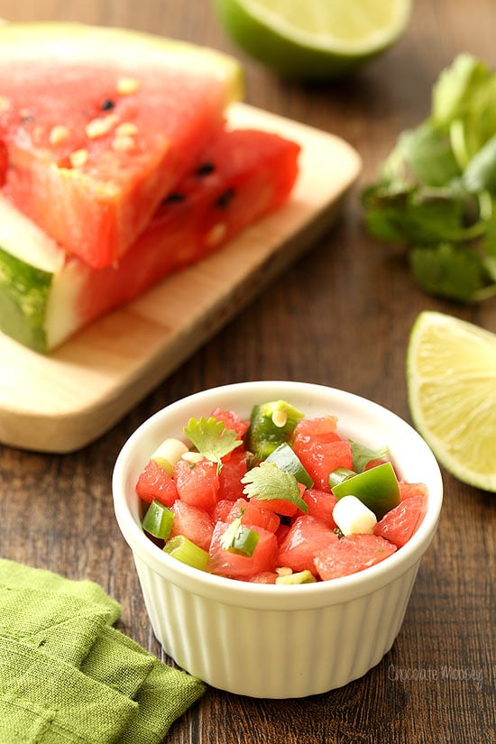 Watermelon Salsa for Spicy Shrimp Tacos