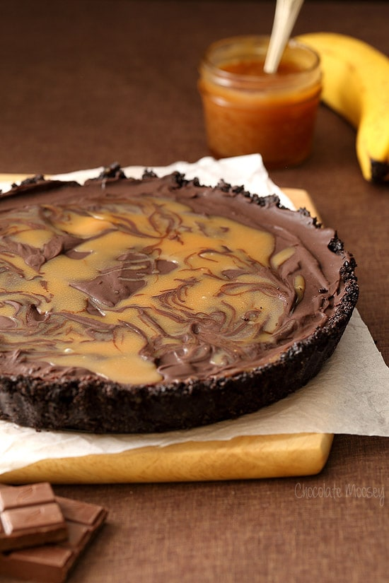 No Bake Chocolate Banana Caramel Tart with a caramel swirl