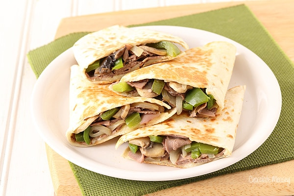 Philly Cheesesteak Quesadillas made with deli roast beef