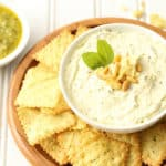 Creamy Basil Pesto Dip made with homemade basil pesto