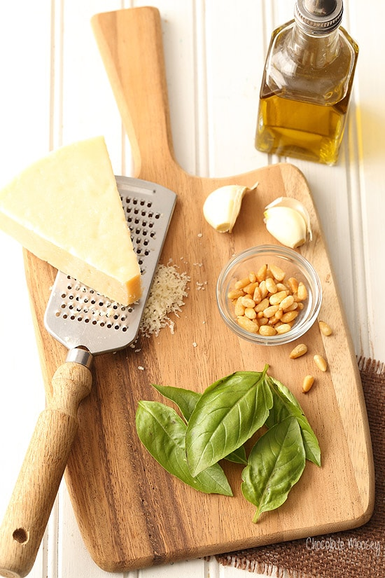 Homemade Basil Pesto with parmesan cheese, pine nuts, garlic, and olive oil