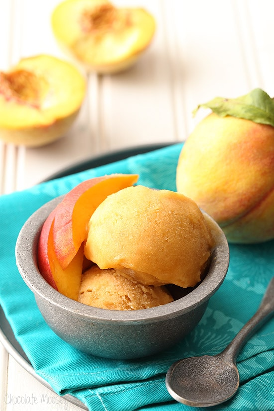 4 ingredient Peach Sorbet