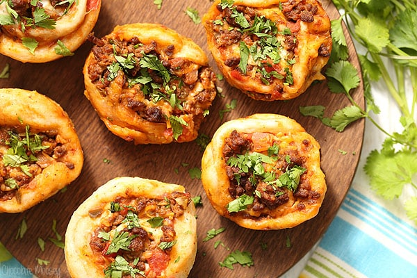 Taco Pizza Roll Ups with ground beef, salsa, and cheese
