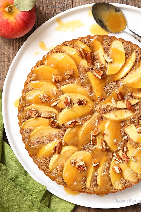 Caramel Apple Pecan Tart is actually an apple cake with pecans all dressed up in a tart pan.