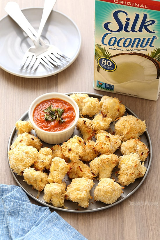 Coconut Crusted Baked Cauliflower Bites with homemade marinara sauce