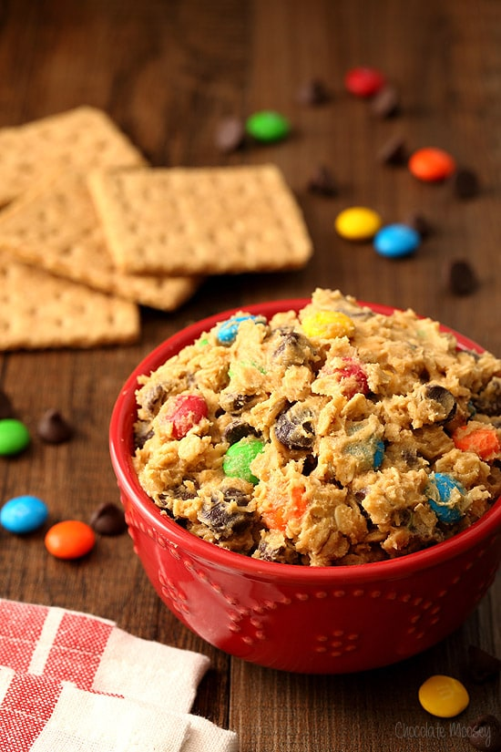 Monster Cookie Dough Dip with peanut butter, M&Ms, chocolate chips, and oats