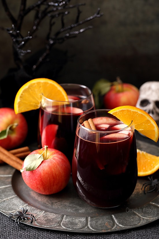 Red Apple Cider Sangria - the perfect Hallowine cocktail