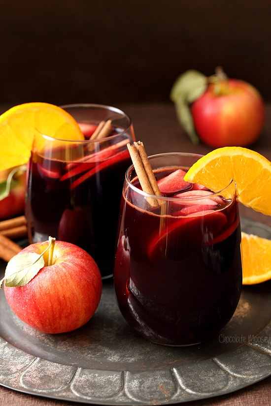 Red Apple Cider Sangria to enjoy as a fall cocktail