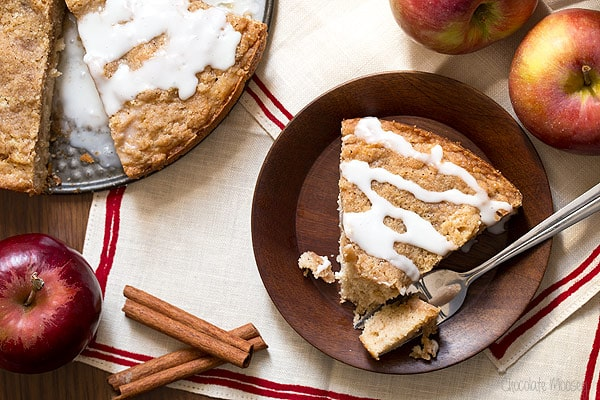 Apple Cinnamon Coffee Cake with crumb topping and vanilla glaze