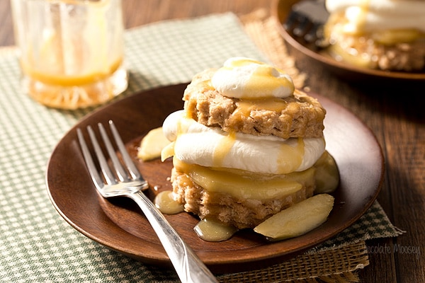 Caramel Apple Shortcakes with tender flaky biscuits