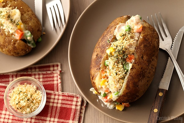Chicken Pot Pie Baked Potatoes For Two have the components of a pot pie without making a pie crust. Learn how to make baked potatoes in the oven and in the microwave for an easy weeknight dinner for two.