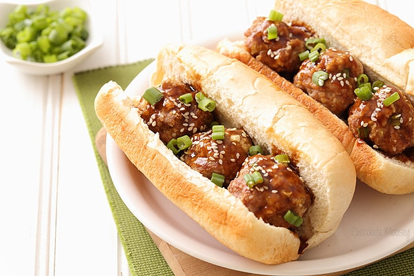 Pork Teriyaki Meatball Sub with homemade teriyaki sauce