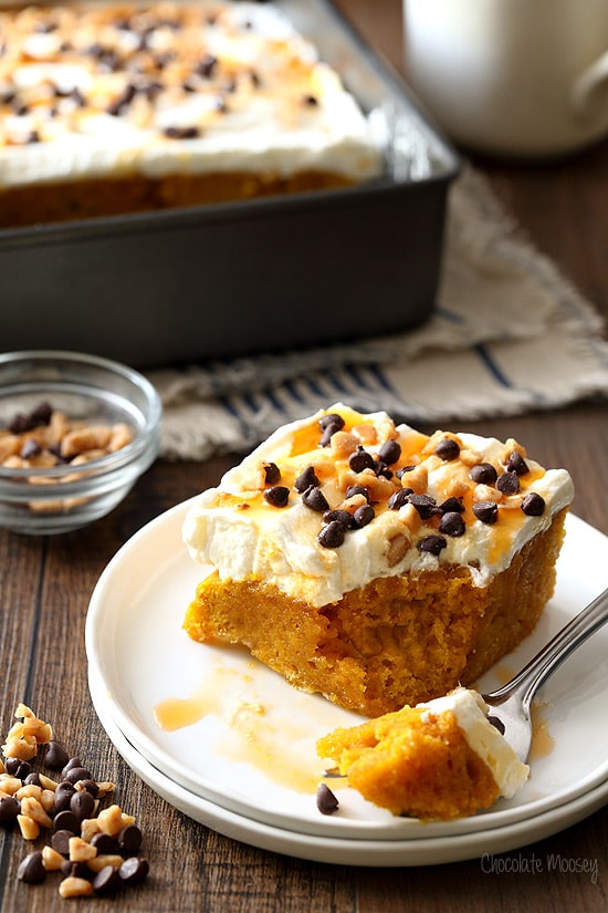 Pumpkin Spice Poke Cake made from scratch without cake mix