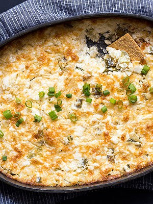 Creamy Onion Dip with cheese and jalapeno