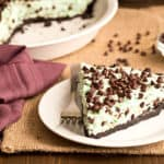 No Bake Mint Chocolate Chip Pie