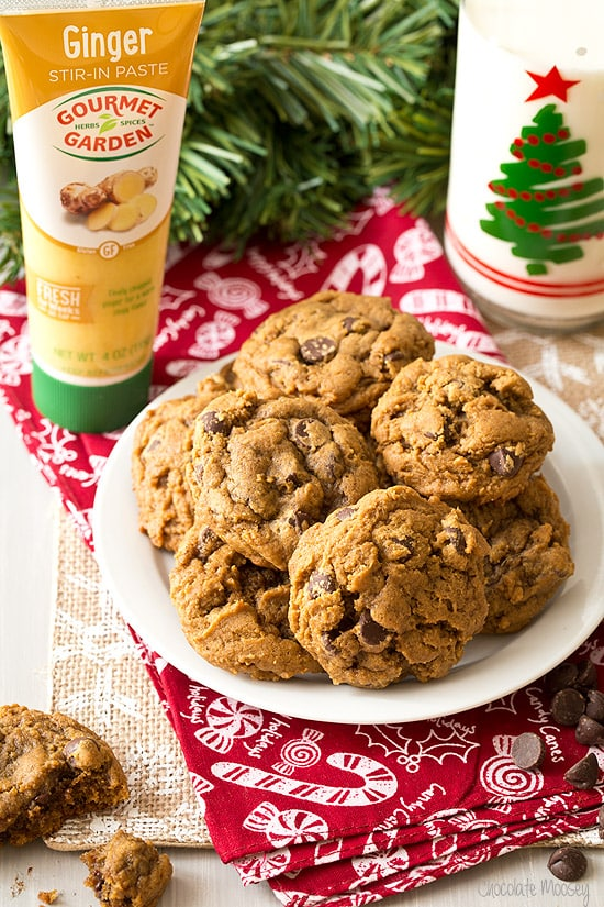 Gingerbread Chocolate Chip Cookies made with fresh ginger