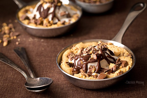 Peanut Butter Cup Mini Skillet Cookies