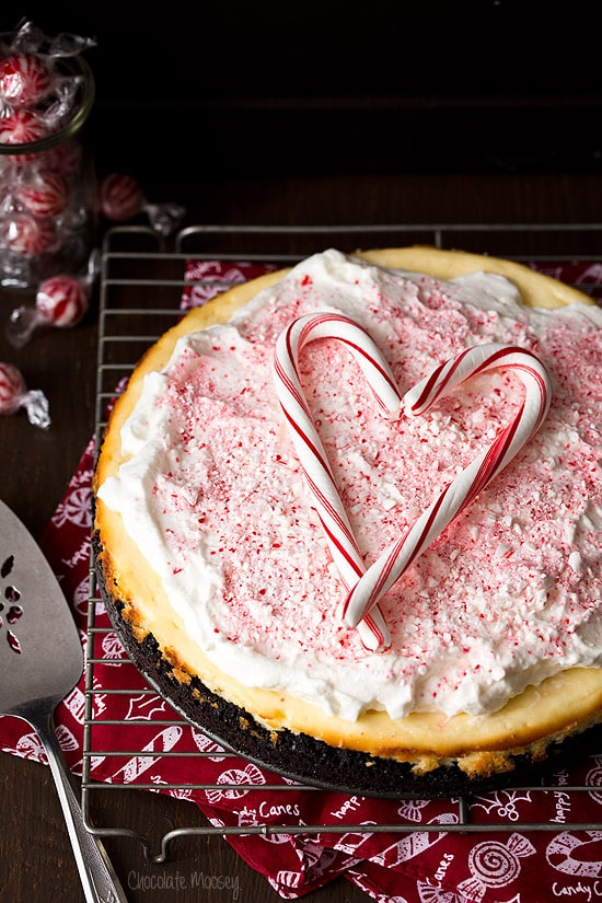 Peppermint Cheesecake with crushed candy canes