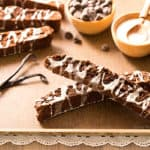 Brownie Biscotti with Vanilla Bean Glaze