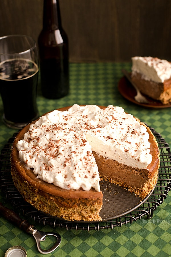 Chocolate Stout Cheesecake with pretzel crust