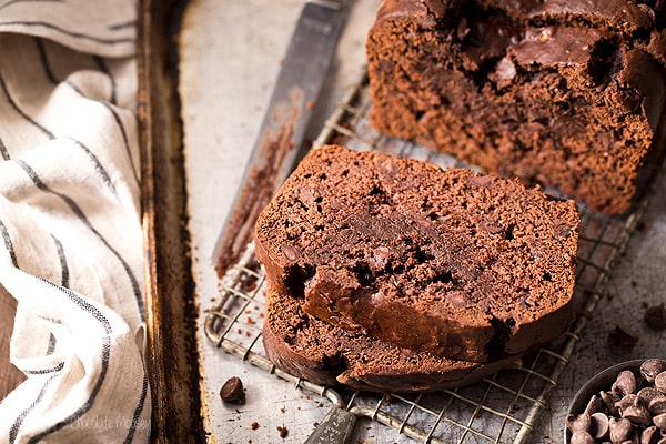Double Chocolate Banana Bread with chocolate chips
