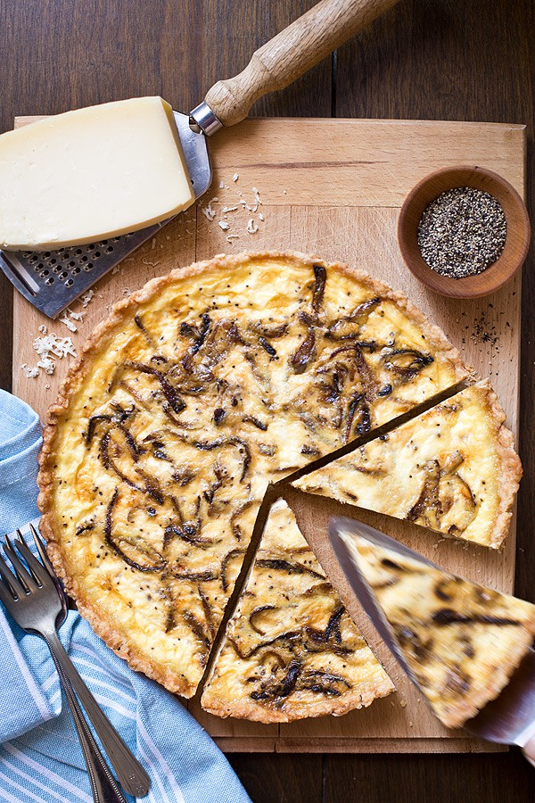 French Onion Quiche with caramelized onions and Gruyere cheese