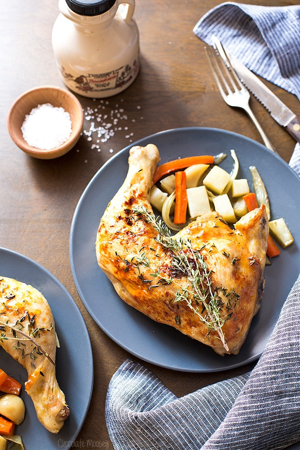 Maple Roasted Chicken Quarters Dinner For Two
