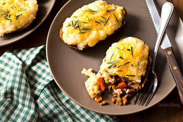 Shepherd's Pie Twice Baked Potatoes - Chocolate Moosey