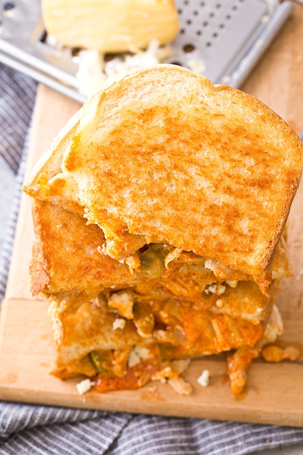Buffalo Chicken Grilled Cheese with smoked cheddar