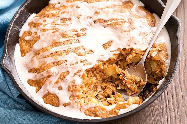 Carrot Cake Skillet Cake with vanilla glaze