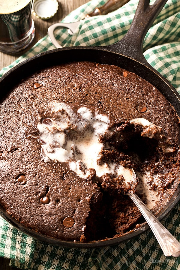 Chocolate Stout Skillet Cake made from scratch